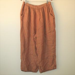 FLAX Linen Pull On Cropped Flood Pants Size 2G